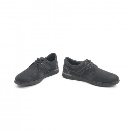 Pantofi barbati casual piele naturala nabuc Leofex 521, negru4