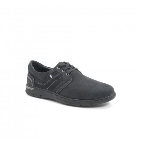 Pantofi barbati casual piele naturala nabuc Leofex 521, negru0