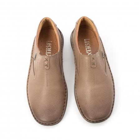 Pantofi barbati casual, piele naturala, Leofex 919, taupe5