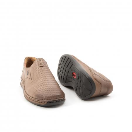 Pantofi barbati casual, piele naturala, Leofex 919, taupe3