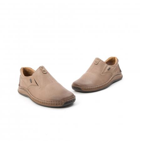 Pantofi barbati casual, piele naturala, Leofex 919, taupe1