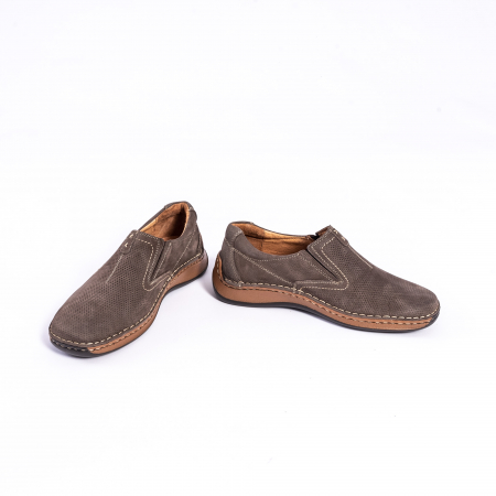 Pantofi barbati casual, piele naturala,Leofex 919, taupe nubuc4