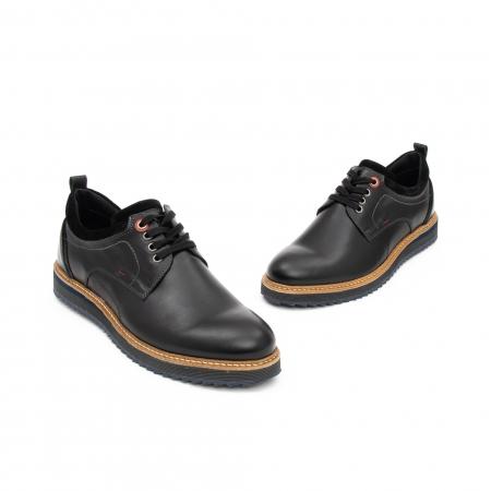 Pantofi barbati casual piele naturala, Leofex 969, negru2