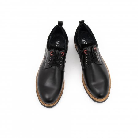 Pantofi barbati casual piele naturala, Leofex 969, negru4
