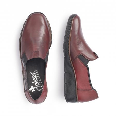 Pantof casual dama din piele naturala Rieker 53754-35 bordo1