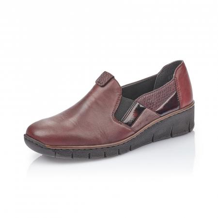 Pantof casual dama din piele naturala Rieker 53754-35 bordo0