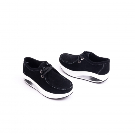 Pantof casual dama F003-1807 black suede2