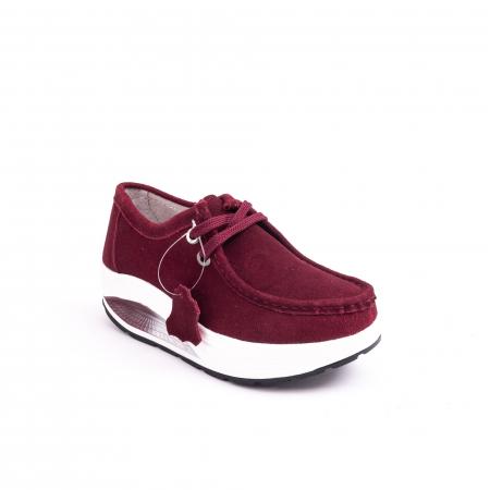 Pantof casual dama F003-1807 burgundy suede0