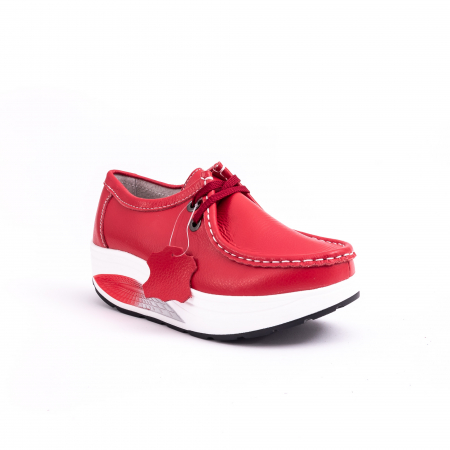 Pantof casual dama F003-1807 red leather [0]