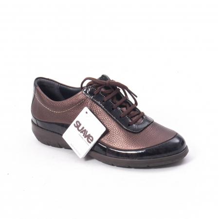 Pantofi dama casual piele naturala Suave Oxford 6605, maro0