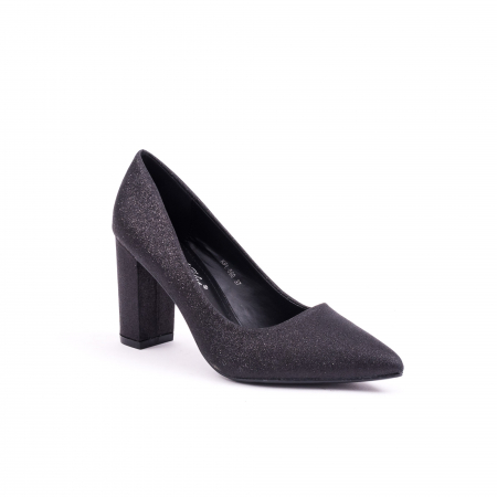 Pantof elegant 660 negru glitter0