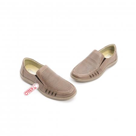 Pantofi barbati casual,  piele naturala, Otter 150 03-N, taupe1