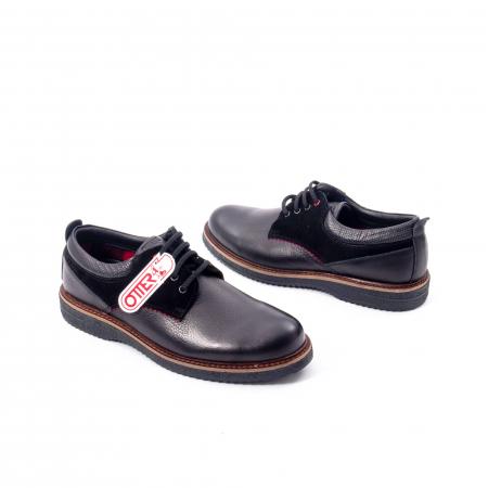 Pantofi barbati casual piele naturala, Otter 020, negru2