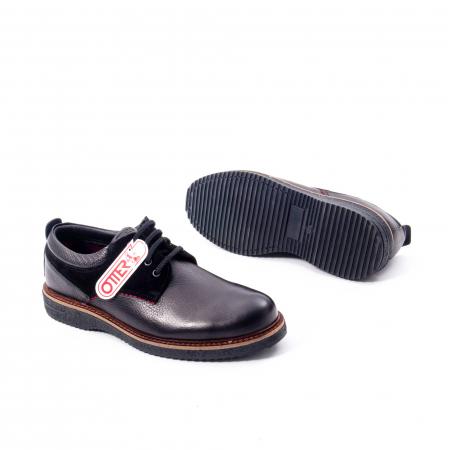 Pantofi barbati casual piele naturala, Otter 020, negru3