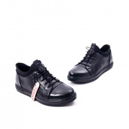 Pantofi casual barbat, piele naturala, Otter QRA42617 01-N negru1