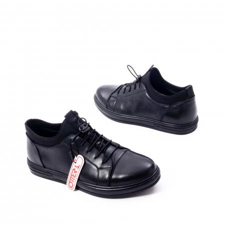 Pantofi casual barbat, piele naturala, Otter QRA42617 01-N negru2