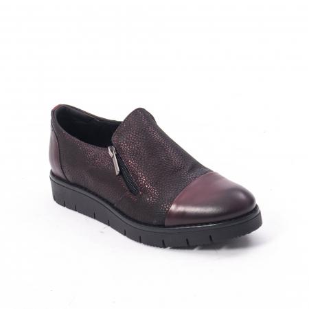 Pantofi casual dama din piele naturala, Catali 182634, bordo