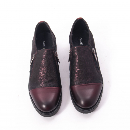Pantofi casual dama din piele naturala, Catali 182634, bordo6