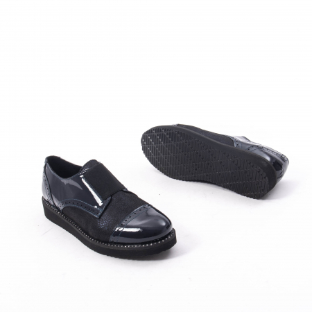 Pantofi casual dama piele naturala lacuita Catali 182632, bleumarin3