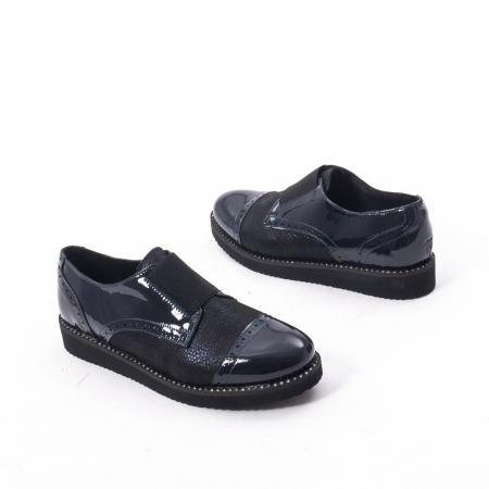 Pantofi casual dama piele naturala lacuita Catali 182632, bleumarin2