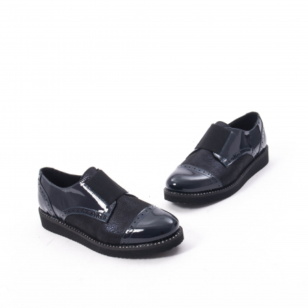 Pantofi casual dama piele naturala lacuita Catali 182632, bleumarin1