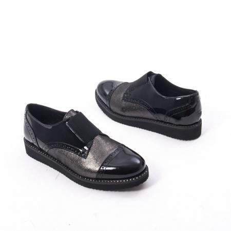 Pantofi casual dama din piele naturala lacuita Catali 182632, negru1