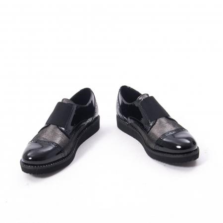 Pantofi casual dama din piele naturala lacuita Catali 182632, negru3