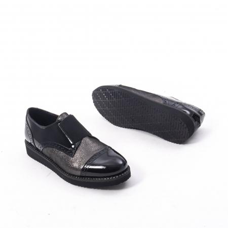 Pantofi casual dama din piele naturala lacuita Catali 182632, negru4