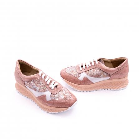 Pantofi casual dama, piele naturala, Nike Invest 1192, roz-argintiu1