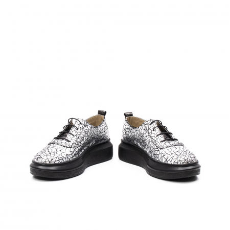 Pantofi dama casual din piele naturala, Psc C592100 K7-N, gri metal4