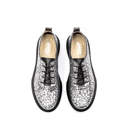 Pantofi dama casual din piele naturala, Psc C592100 K7-N, gri metal5