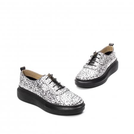 Pantofi dama casual din piele naturala, Psc C592100 K7-N, gri metal1