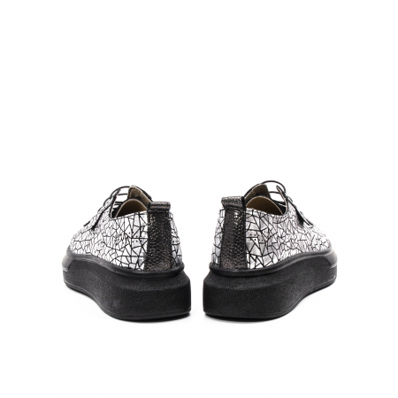 Pantofi dama casual din piele naturala, Psc C592100 K7-N, gri metal6