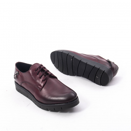 Pantofi casual dama, piele naturala Catali 162602 bordo3