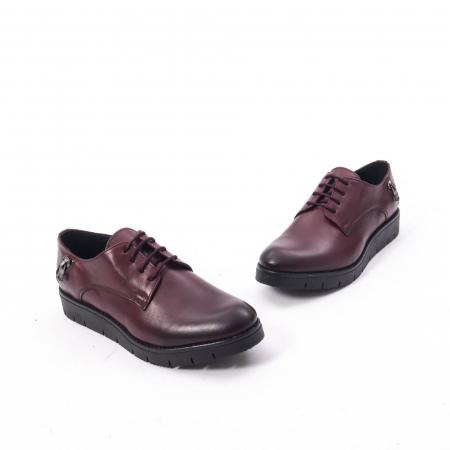 Pantofi casual dama, piele naturala Catali 162602 bordo1