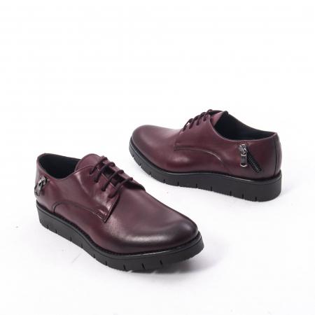 Pantofi casual dama, piele naturala Catali 162602 bordo2