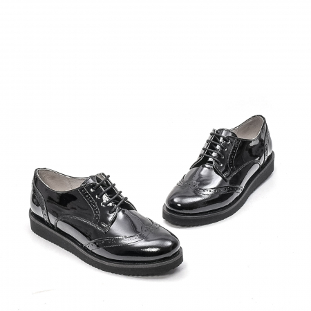 Pantofi dama casual din piele naturala,171611, negru lac1
