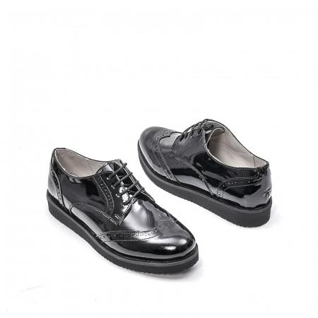 Pantofi dama casual din piele naturala,171611, negru lac2