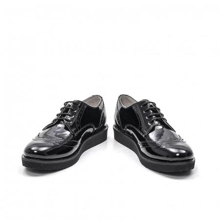 Pantofi dama casual din piele naturala,171611, negru lac4
