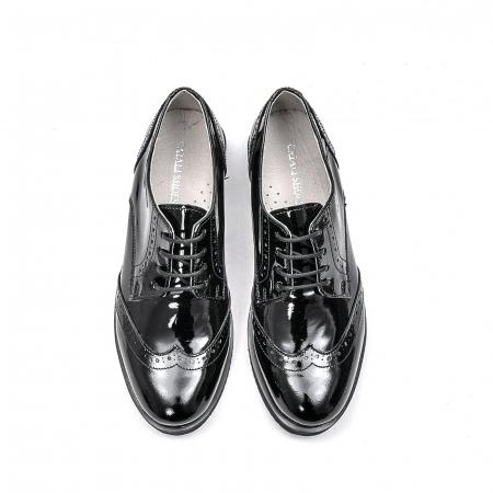 Pantofi dama casual din piele naturala,171611, negru lac5