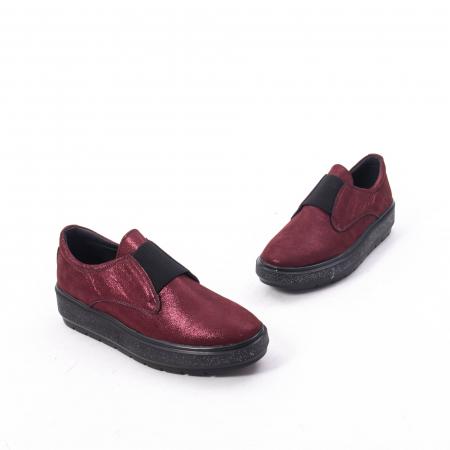 Pantofi casual dama piele naturala Catali 192658, bordo3