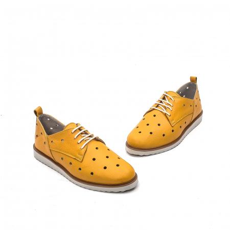 Pantofi dama casual din piele naturala, 201672NP, muștar1