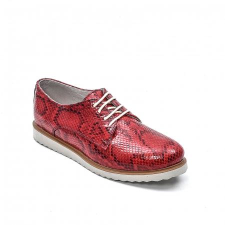 Pantofi dama casual din piele naturala, 201673CRO, rosu0