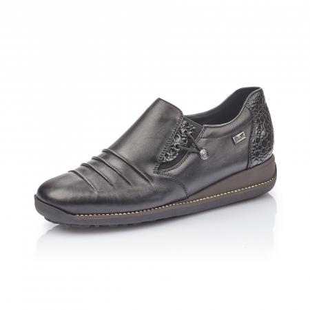 Pantofi casual dama piele naturala Rieker 44254, negru0