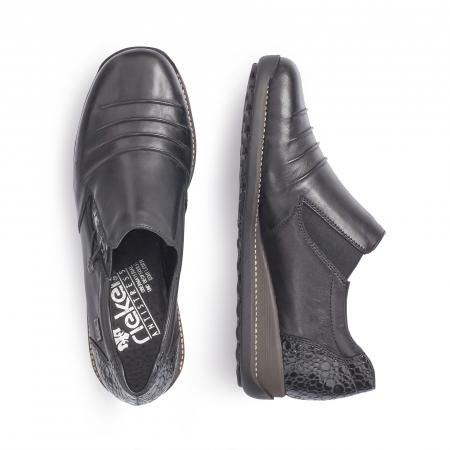 Pantofi casual dama piele naturala Rieker 44254, negru1
