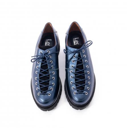 Pantofi casual dama, Leofex piele naturala 561 blue metalic5