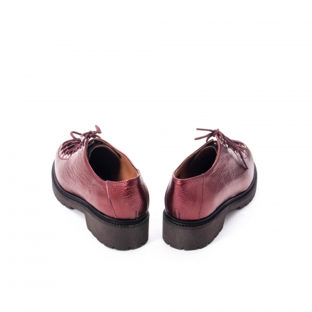 Pantofi casual dama, Leofex piele naturala 561 visiniu metalic6