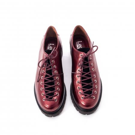 Pantofi casual dama, Leofex piele naturala 561 visiniu metalic5