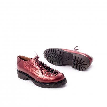 Pantofi casual dama, Leofex piele naturala 561 visiniu metalic3