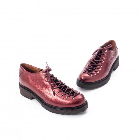 Pantofi casual dama, Leofex piele naturala 561 visiniu metalic1